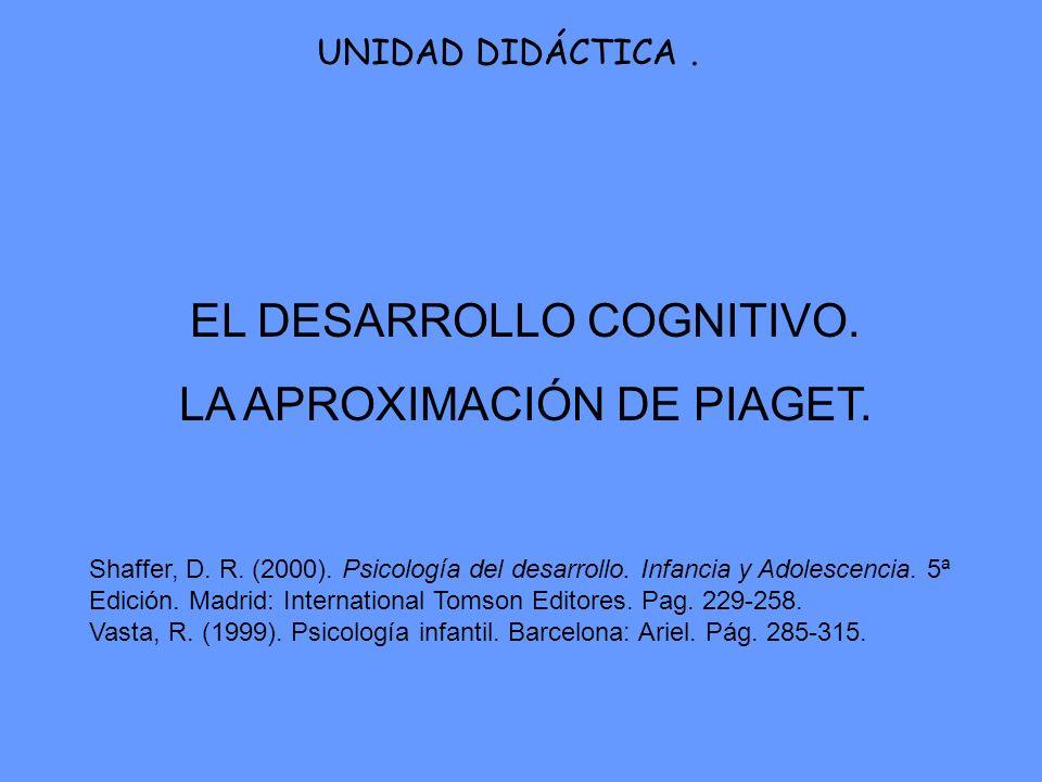 EL DESARROLLO COGNITIVO. LA APROXIMACIÓN DE PIAGET. UNIDAD DIDÁCTICA. Shaffer, D. R. (2000). Psicología del desarrollo. Infancia y Adolescencia. 5ª Ed