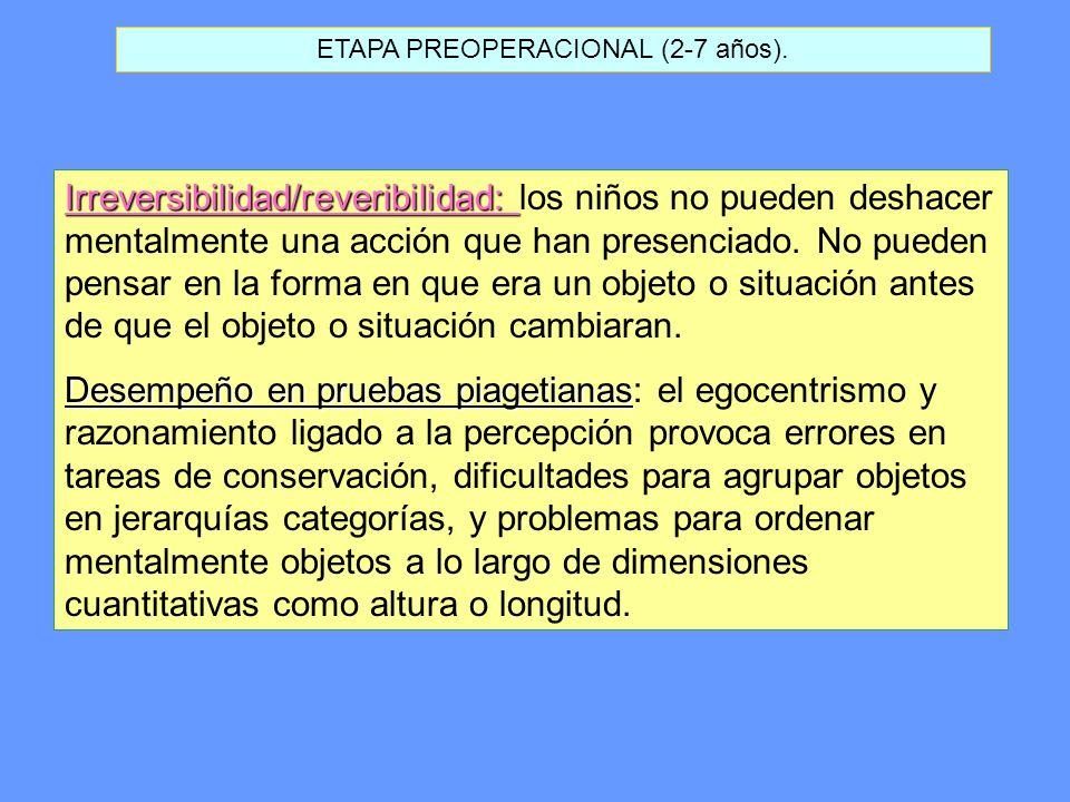 ETAPA PREOPERACIONAL (2-7 años). Irreversibilidad/reveribilidad: Irreversibilidad/reveribilidad: los niños no pueden deshacer mentalmente una acción q