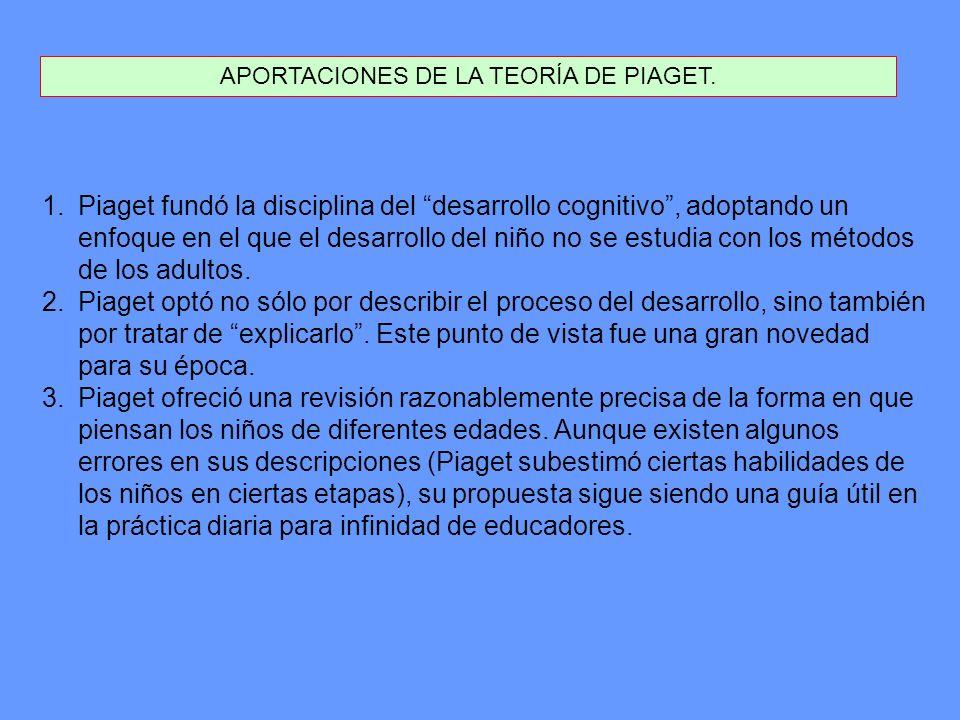 APORTACIONES DE LA TEORÍA DE PIAGET. 1.Piaget fundó la disciplina del desarrollo cognitivo, adoptando un enfoque en el que el desarrollo del niño no s