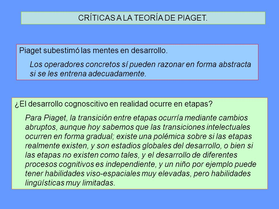 CRÍTICAS A LA TEORÍA DE PIAGET. Piaget subestimó las mentes en desarrollo. Los operadores concretos sí pueden razonar en forma abstracta si se les ent