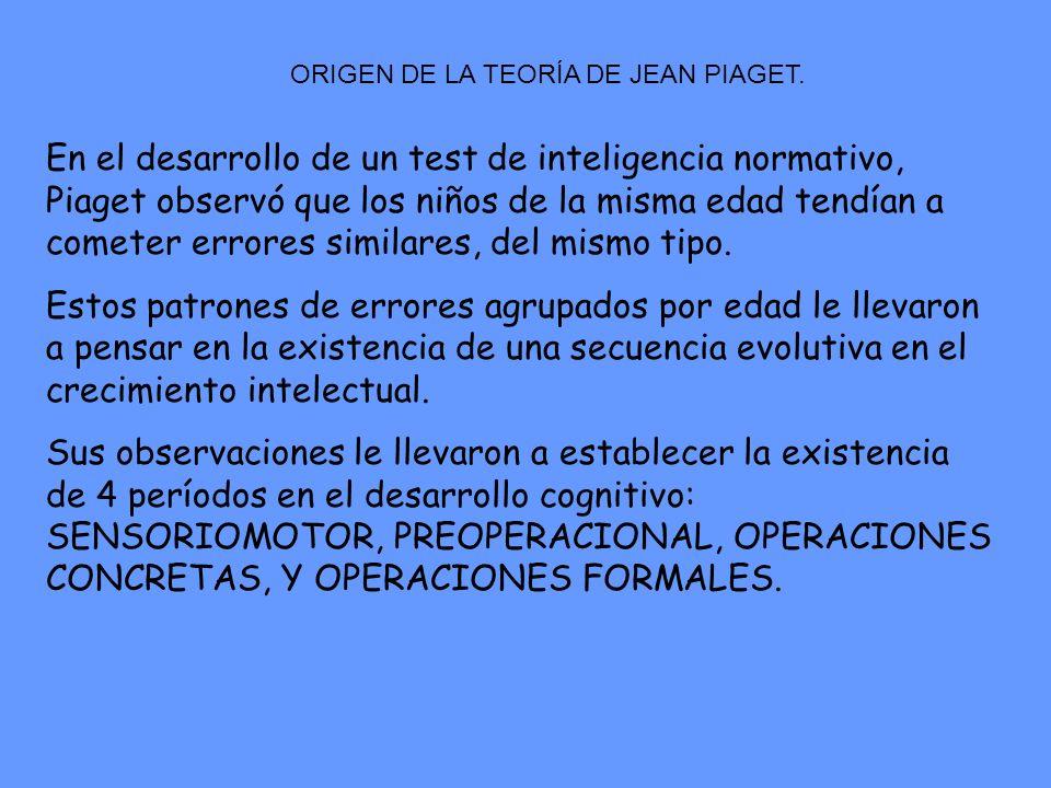 ORIGEN DE LA TEORÍA DE JEAN PIAGET. En el desarrollo de un test de inteligencia normativo, Piaget observó que los niños de la misma edad tendían a com