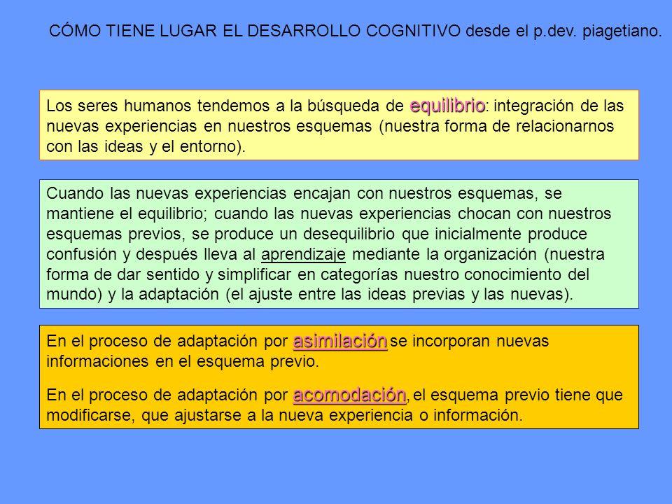 CÓMO TIENE LUGAR EL DESARROLLO COGNITIVO desde el p.dev. piagetiano. equilibrio Los seres humanos tendemos a la búsqueda de equilibrio : integración d