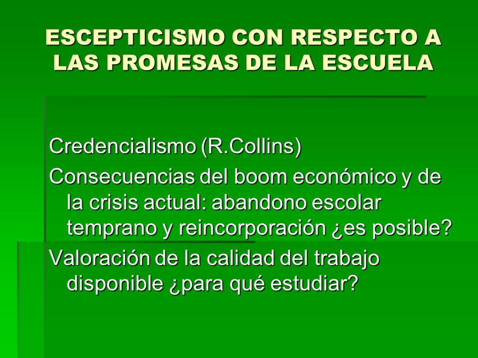 ESCEPTICISMO CON RESPECTO A LAS PROMESAS DE LA ESCUELA Credencialismo (R.Collins) Consecuencias del boom económico y de la crisis actual: abandono esc