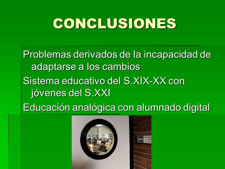 CONCLUSIONES Problemas derivados de la incapacidad de adaptarse a los cambios Sistema educativo del S.XIX-XX con jóvenes del S.XXI Educación analógica