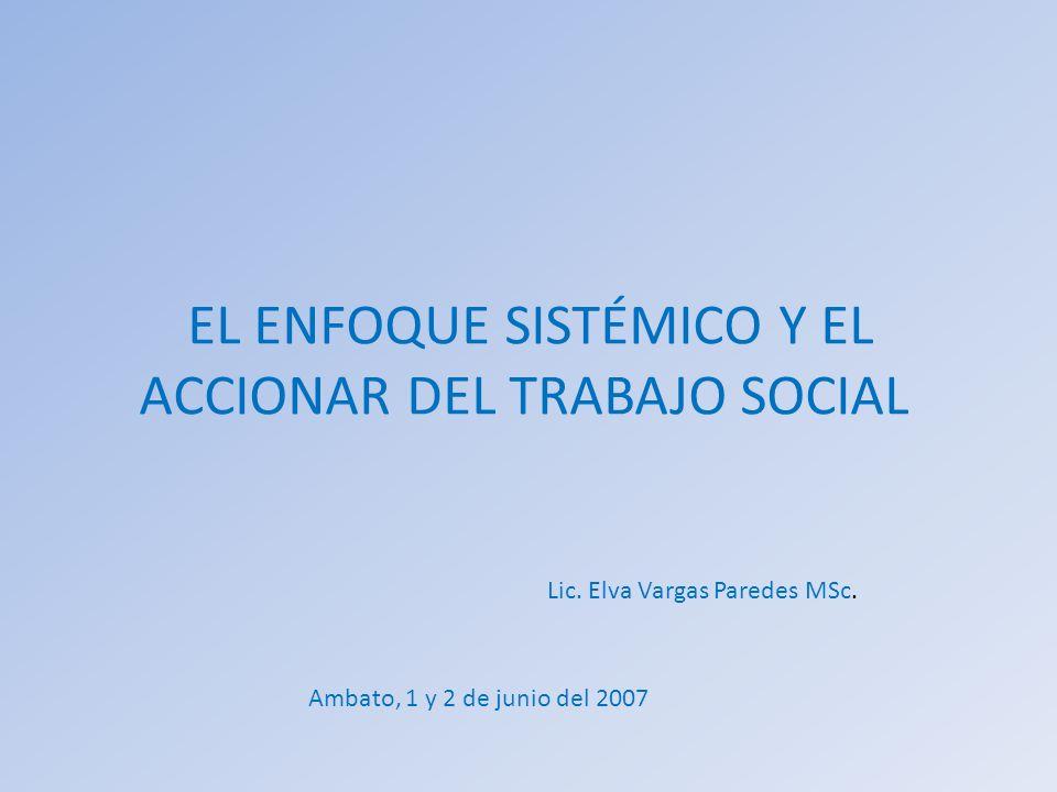 EL ENFOQUE SISTÉMICO Y EL ACCIONAR DEL TRABAJO SOCIAL Lic. Elva Vargas Paredes MSc. Ambato, 1 y 2 de junio del 2007