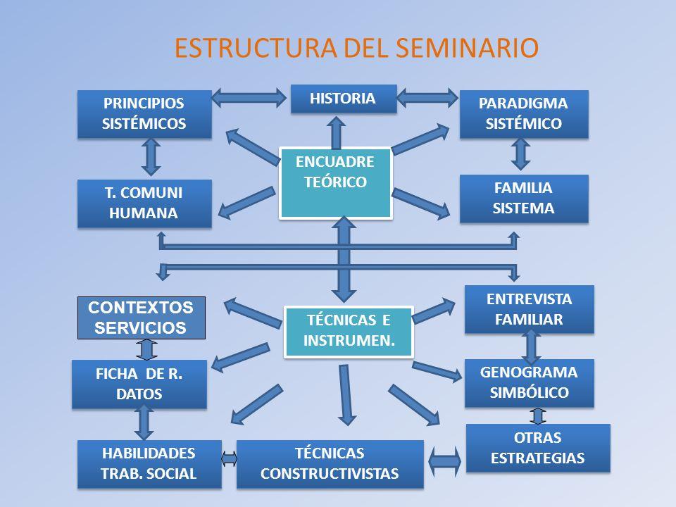 ESTRUCTURA DEL SEMINARIO ENCUADRE TEÓRICO ENCUADRE TEÓRICO HISTORIA PARADIGMA SISTÉMICO PARADIGMA SISTÉMICO T. COMUNI HUMANA T. COMUNI HUMANA FAMILIA