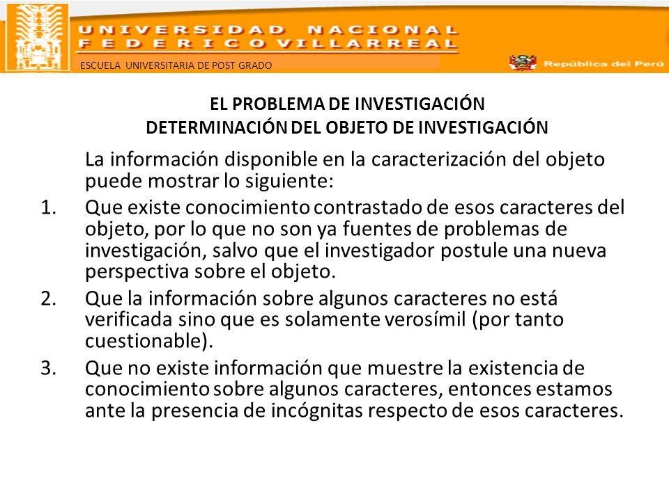 ESCUELA UNIVERSITARIA DE POST GRADO EL PROBLEMA DE INVESTIGACIÓN DETERMINACIÓN DEL OBJETO DE INVESTIGACIÓN La información disponible en la caracteriza
