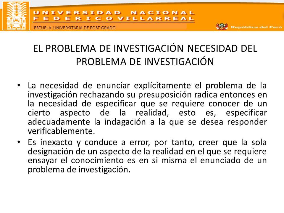 ESCUELA UNIVERSITARIA DE POST GRADO EL PROBLEMA DE INVESTIGACIÓN NATURALEZA DEL PROBLEMA DE INVESTIGACIÓN Las indagaciones problemáticas pueden ser: Causas de X ¿Por qué se produce X.