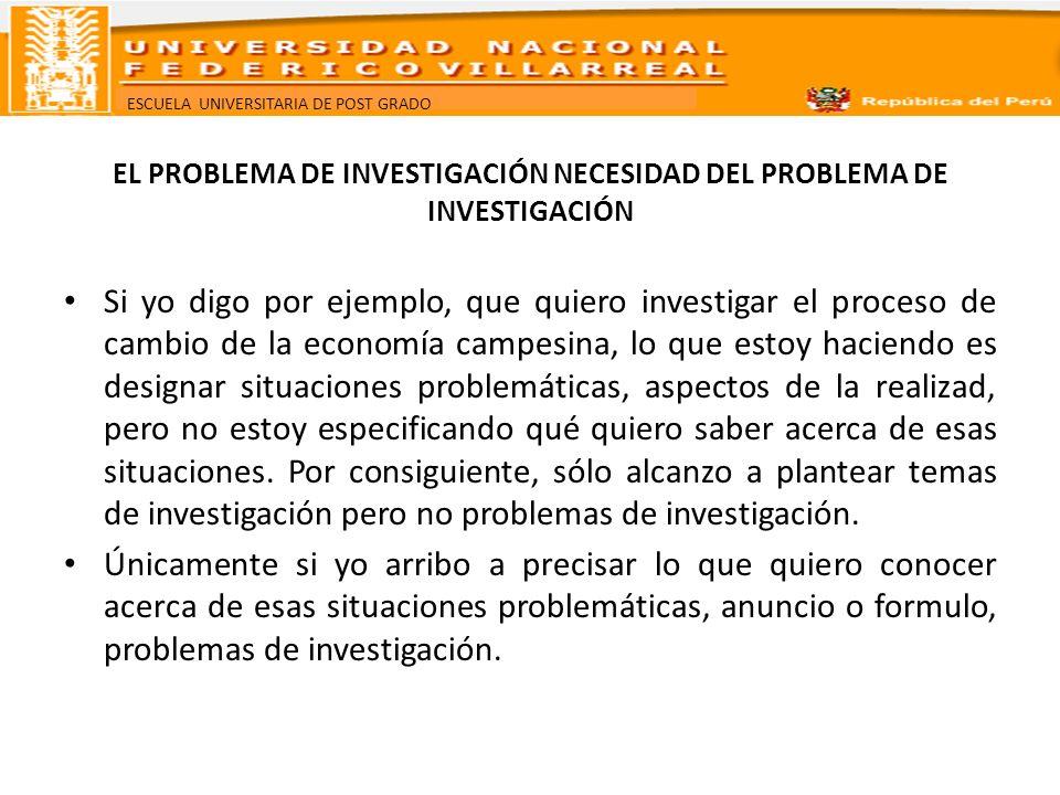 ESCUELA UNIVERSITARIA DE POST GRADO EL PROBLEMA DE INVESTIGACIÓN NECESIDAD DEL PROBLEMA DE INVESTIGACIÓN Si yo digo por ejemplo, que quiero investigar