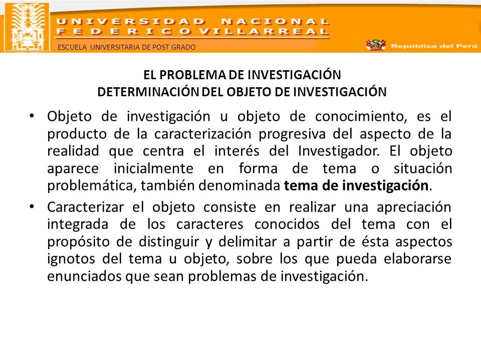 ESCUELA UNIVERSITARIA DE POST GRADO EL PROBLEMA DE INVESTIGACIÓN DETERMINACIÓN DEL OBJETO DE INVESTIGACIÓN Objeto de investigación u objeto de conocim