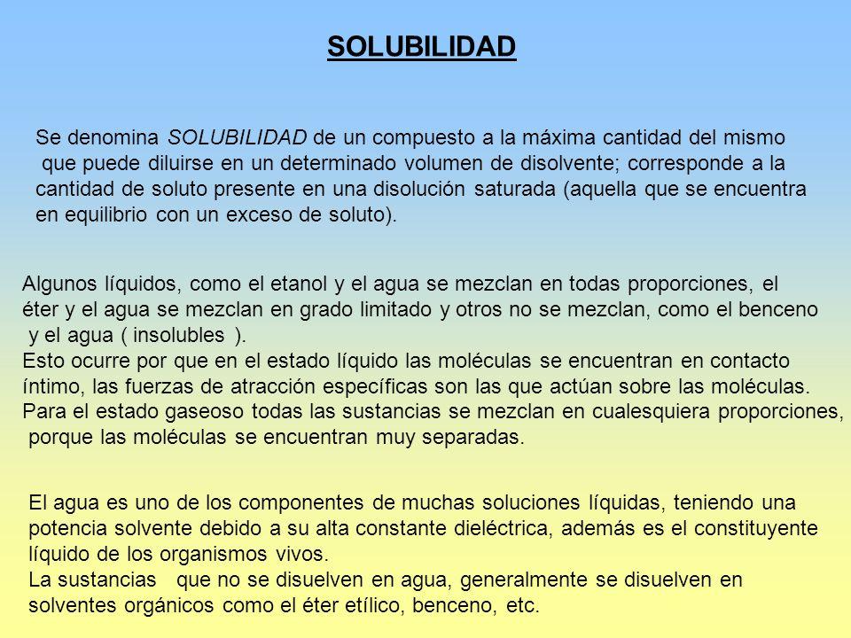 SOLUBILIDAD Se denomina SOLUBILIDAD de un compuesto a la máxima cantidad del mismo que puede diluirse en un determinado volumen de disolvente; corresp