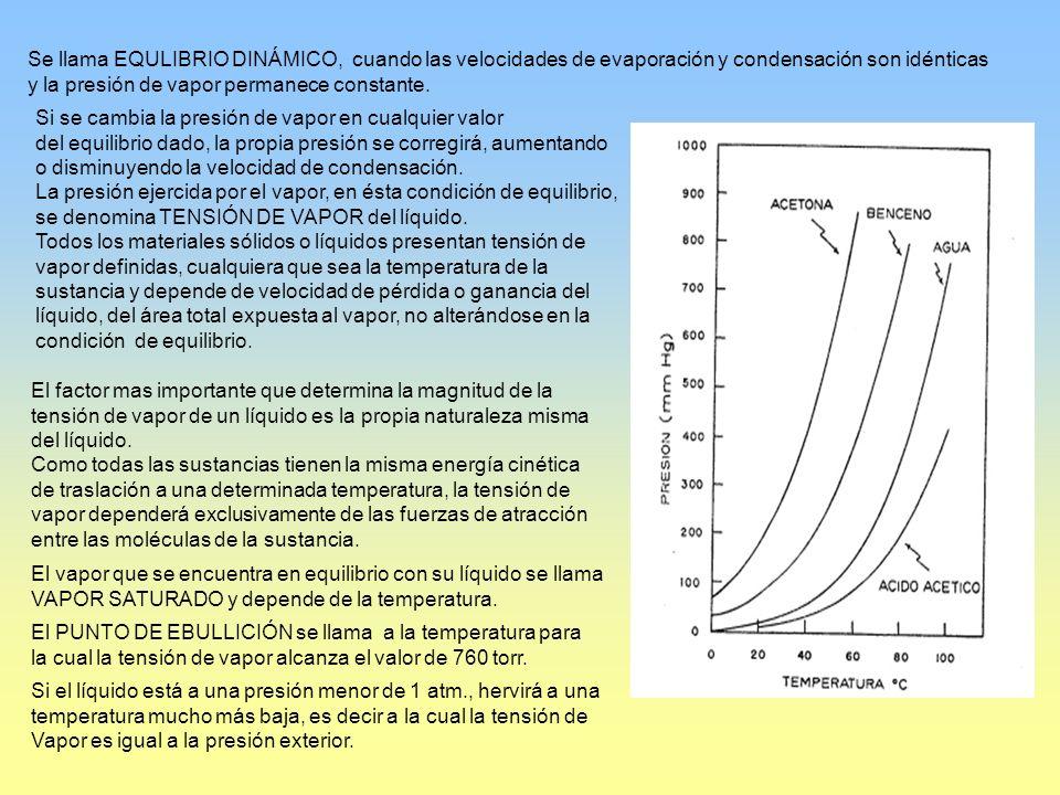 Se llama EQULIBRIO DINÁMICO, cuando las velocidades de evaporación y condensación son idénticas y la presión de vapor permanece constante. Si se cambi