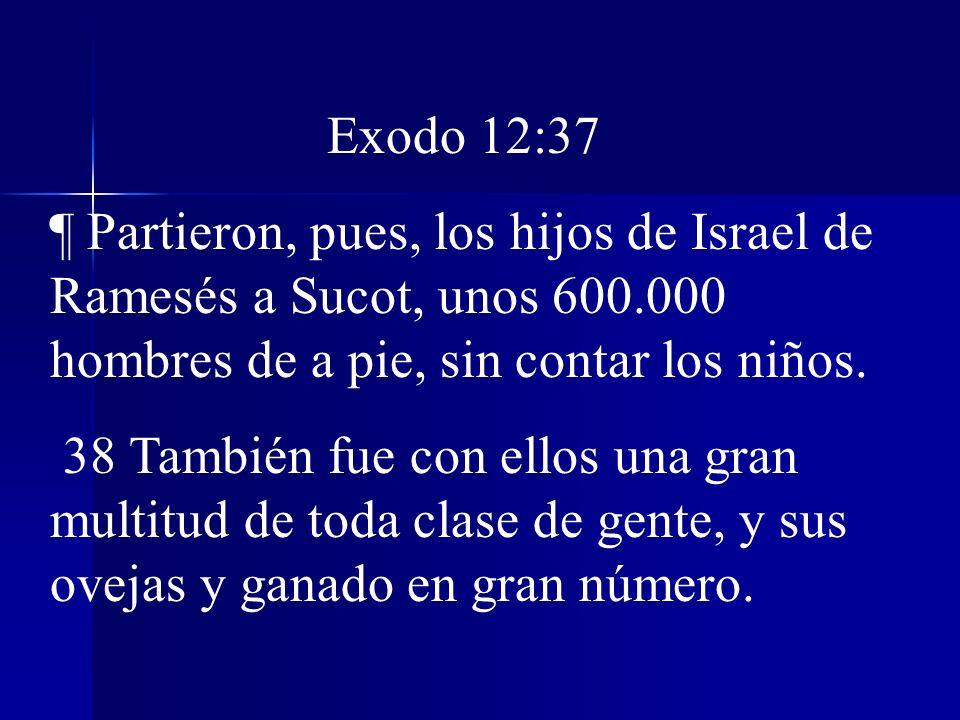 Exodo 12:37 ¶ Partieron, pues, los hijos de Israel de Ramesés a Sucot, unos 600.000 hombres de a pie, sin contar los niños. 38 También fue con ellos u