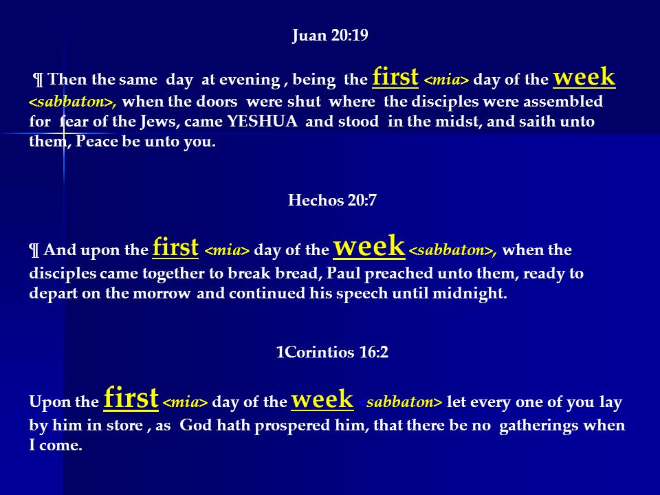 Juan 20:19 ¶ Then the same day at evening, being the first day of the week, when the doors were shut where the disciples were assembled for fear of th