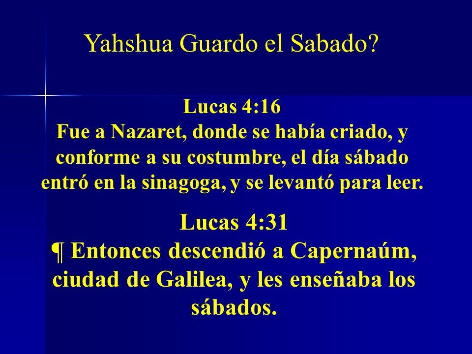 Lucas 4:16 Fue a Nazaret, donde se había criado, y conforme a su costumbre, el día sábado entró en la sinagoga, y se levantó para leer. Lucas 4:31 ¶ E