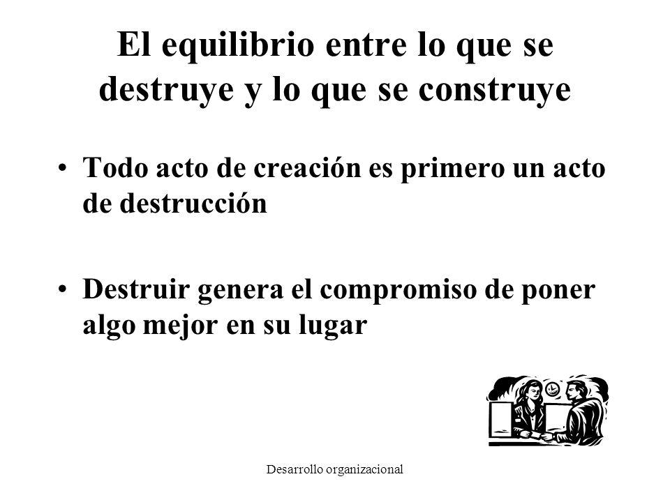 Desarrollo organizacional El equilibrio entre lo que se destruye y lo que se construye Todo acto de creación es primero un acto de destrucción Destrui