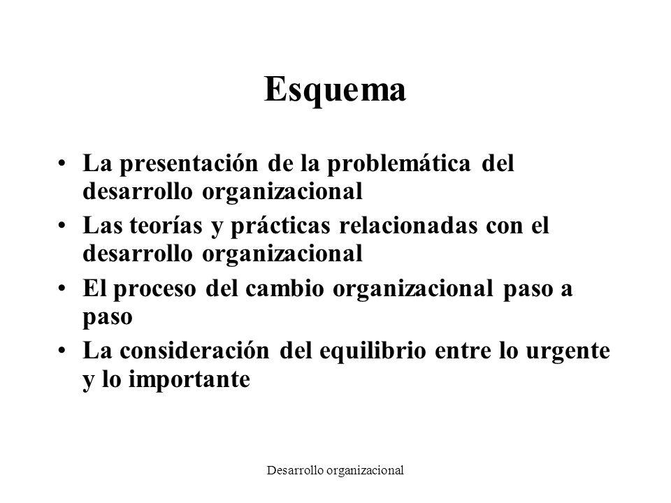 Desarrollo organizacional Esquema La presentación de la problemática del desarrollo organizacional Las teorías y prácticas relacionadas con el desarro