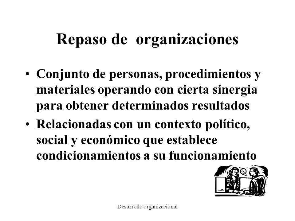 Desarrollo organizacional Repaso de Administración Mejorar la capacidad de planificar, coordinar, dirigir y controlar el funcionamiento de un organización Analizar las funciones y actividades que se realizan en las organizaciones para cumplir con sus fines Controlar el desempeño general de las personas en las organizaciones en todo el ciclo los recursos humanos