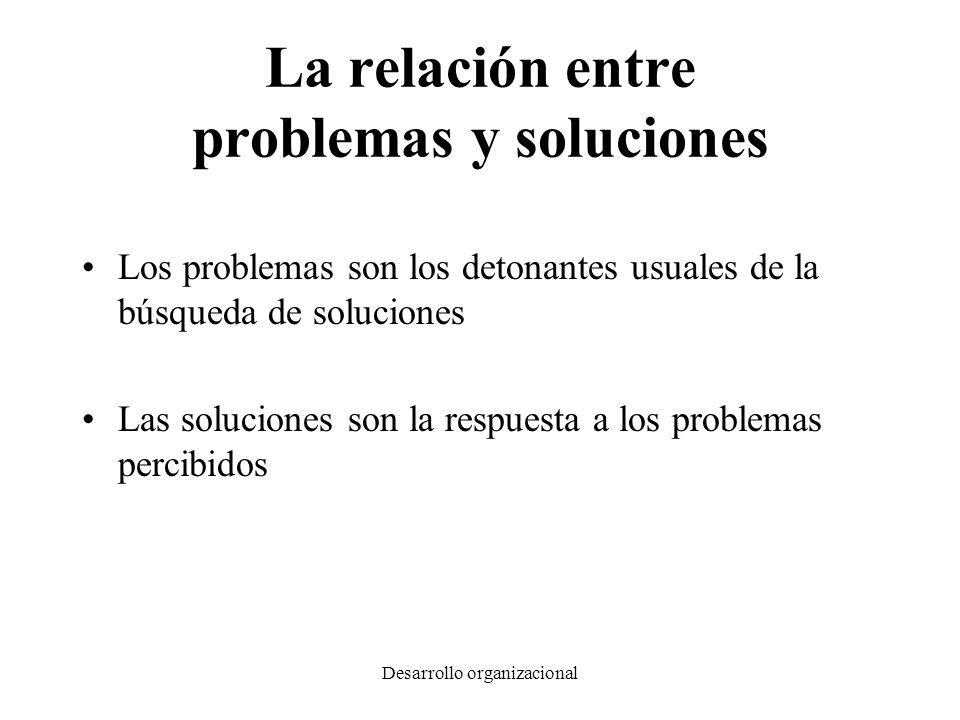 Desarrollo organizacional La relación entre problemas y soluciones Los problemas son los detonantes usuales de la búsqueda de soluciones Las solucione
