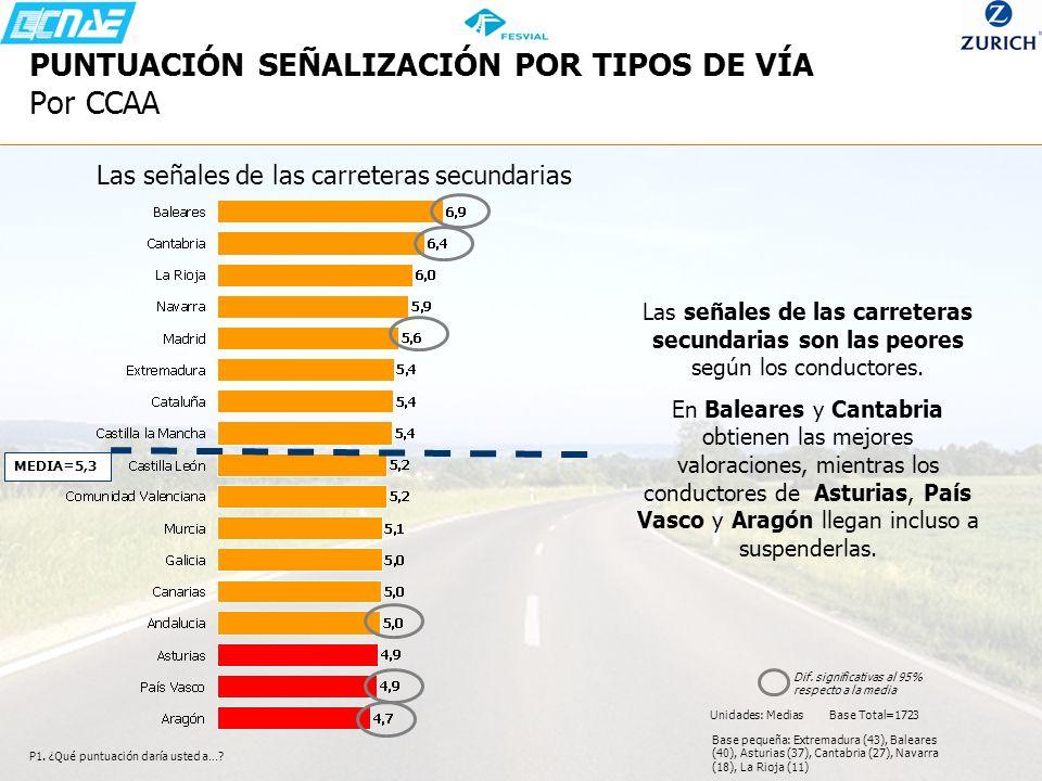 P1. ¿Qué puntuación daría usted a…? Las señales de las carreteras secundarias son las peores según los conductores. En Baleares y Cantabria obtienen l