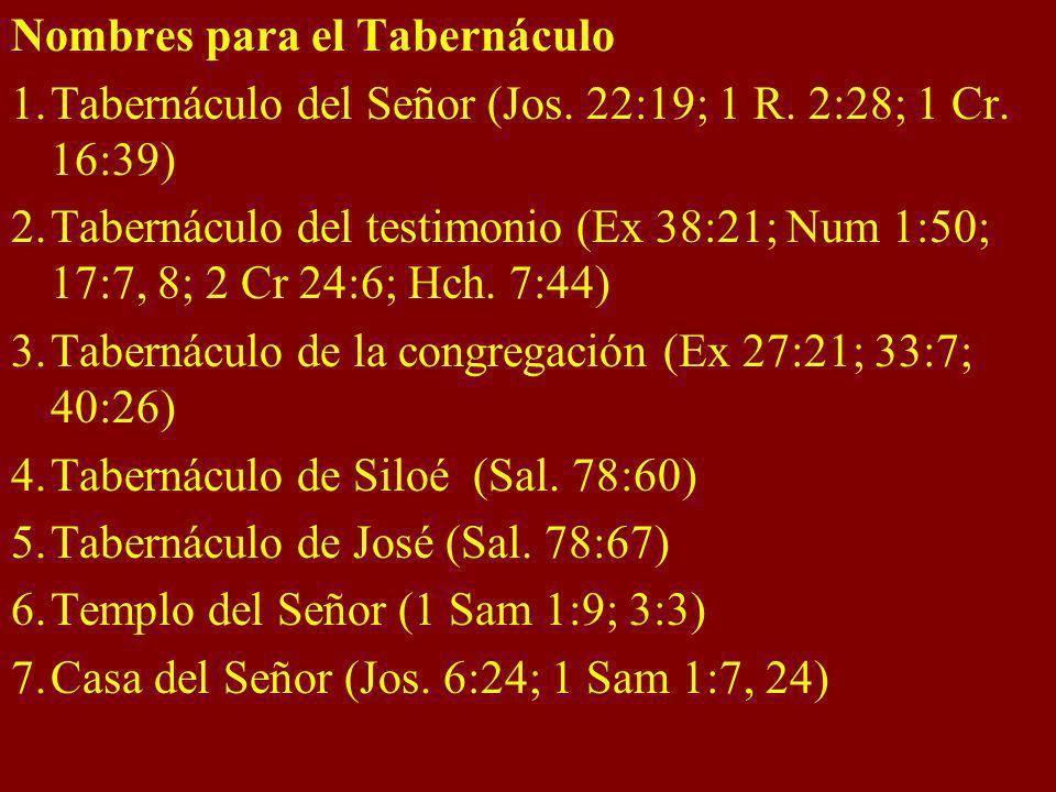 Nombres para el Tabernáculo 1.Tabernáculo del Señor (Jos. 22:19; 1 R. 2:28; 1 Cr. 16:39) 2.Tabernáculo del testimonio (Ex 38:21; Num 1:50; 17:7, 8; 2