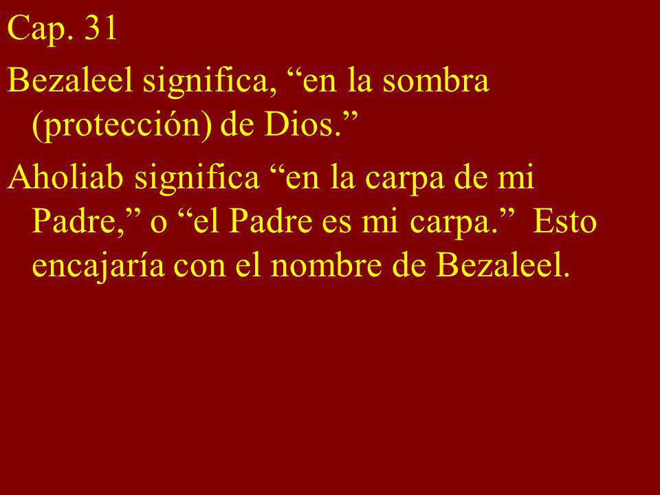 Cap. 31 Bezaleel significa, en la sombra (protección) de Dios. Aholiab significa en la carpa de mi Padre, o el Padre es mi carpa. Esto encajaría con e