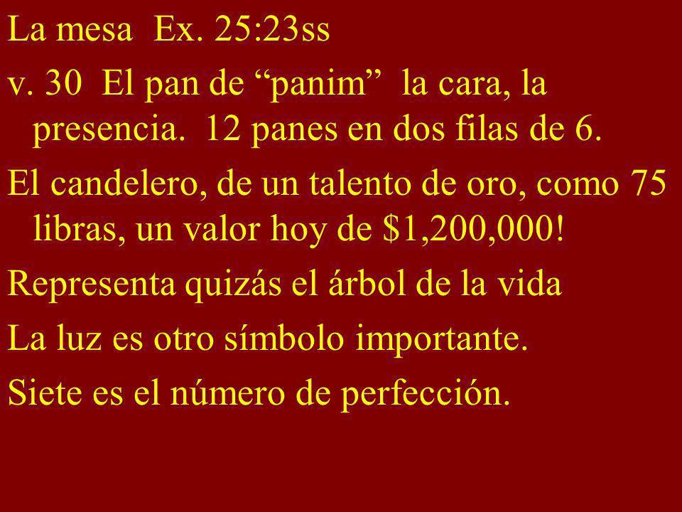 La mesa Ex. 25:23ss v. 30 El pan de panim la cara, la presencia. 12 panes en dos filas de 6. El candelero, de un talento de oro, como 75 libras, un va