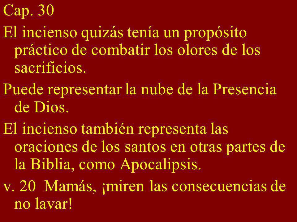 Cap. 30 El incienso quizás tenía un propósito práctico de combatir los olores de los sacrificios. Puede representar la nube de la Presencia de Dios. E