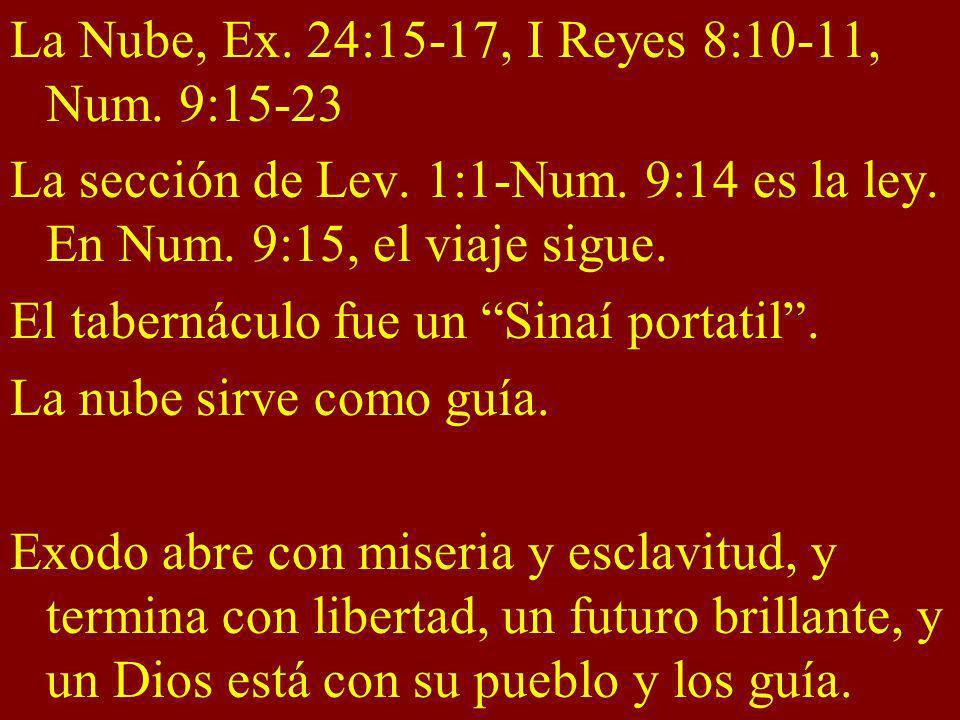 La Nube, Ex. 24:15-17, I Reyes 8:10-11, Num. 9:15-23 La sección de Lev. 1:1-Num. 9:14 es la ley. En Num. 9:15, el viaje sigue. El tabernáculo fue un S