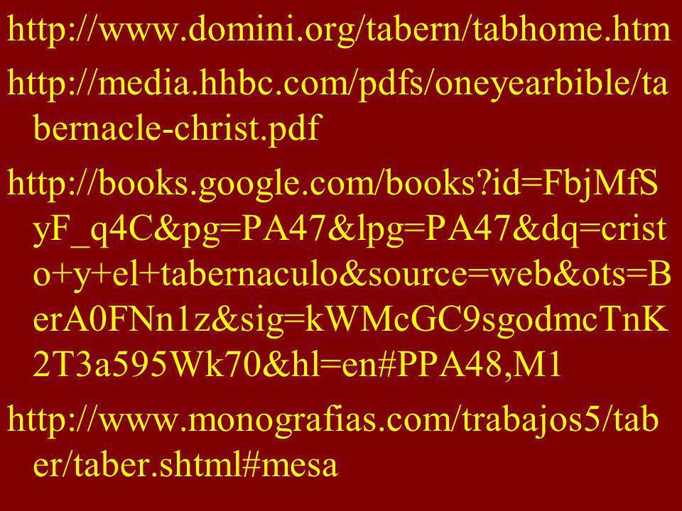 http://www.domini.org/tabern/tabhome.htm http://media.hhbc.com/pdfs/oneyearbible/ta bernacle-christ.pdf http://books.google.com/books?id=FbjMfS yF_q4C