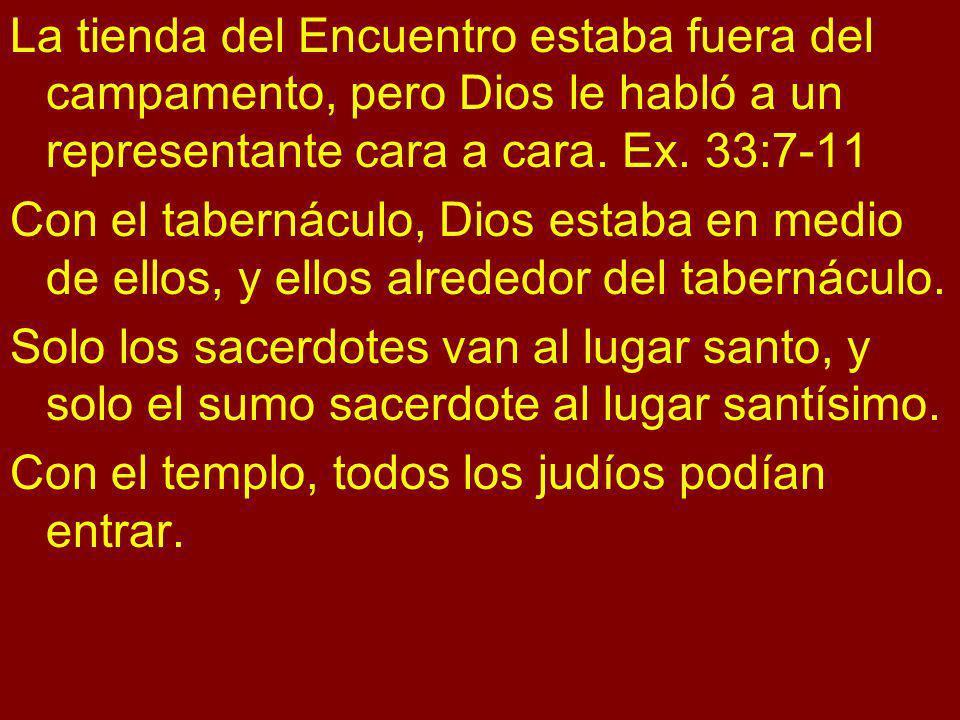 La tienda del Encuentro estaba fuera del campamento, pero Dios le habló a un representante cara a cara. Ex. 33:7-11 Con el tabernáculo, Dios estaba en