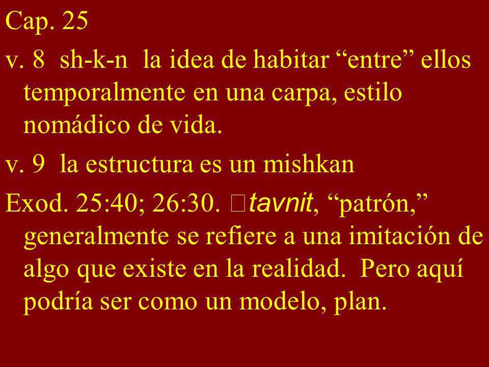 Cap. 25 v. 8 sh-k-n la idea de habitar entre ellos temporalmente en una carpa, estilo nomádico de vida. v. 9 la estructura es un mishkan Exod. 25:40;