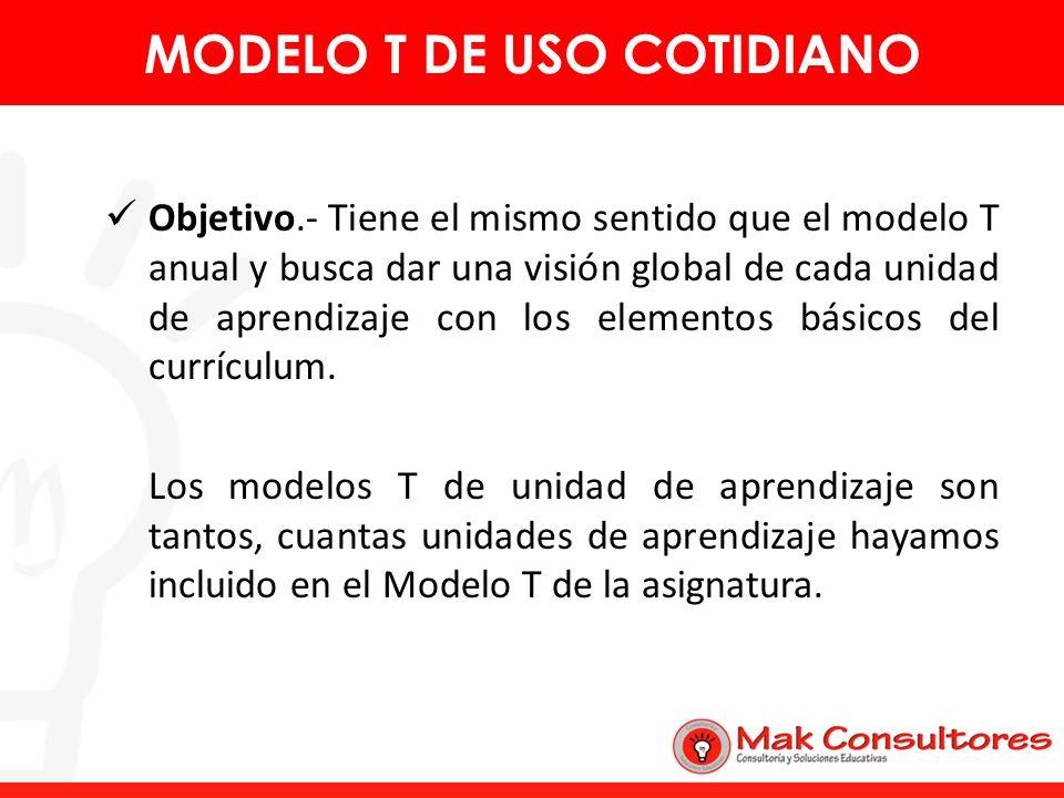 Objetivo.- Tiene el mismo sentido que el modelo T anual y busca dar una visión global de cada unidad de aprendizaje con los elementos básicos del curr