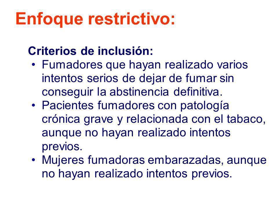 Enfoque restrictivo: Criterios de inclusión: Fumadores que hayan realizado varios intentos serios de dejar de fumar sin conseguir la abstinencia defin