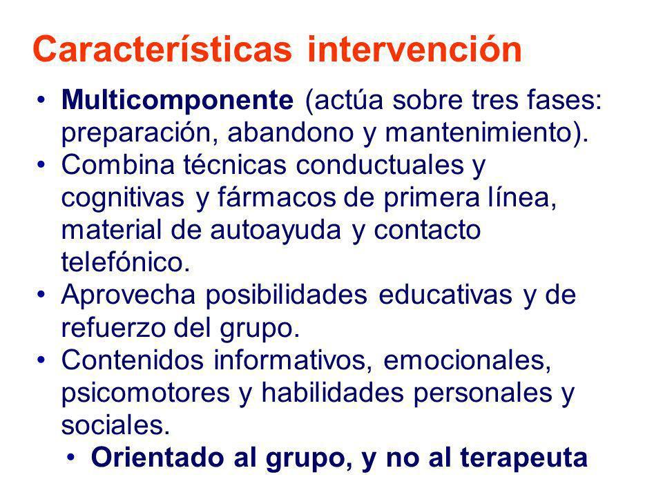 Características intervención Multicomponente (actúa sobre tres fases: preparación, abandono y mantenimiento). Combina técnicas conductuales y cognitiv