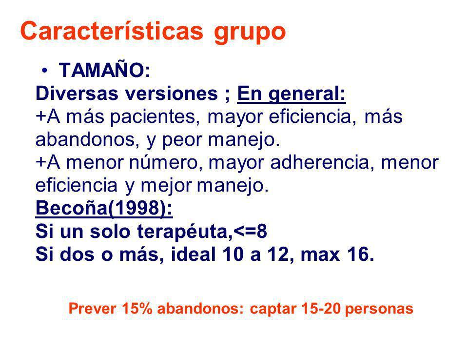 Características grupo TAMAÑO: Diversas versiones ; En general: +A más pacientes, mayor eficiencia, más abandonos, y peor manejo. +A menor número, mayo
