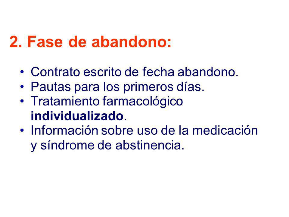 2. Fase de abandono: Contrato escrito de fecha abandono. Pautas para los primeros días. Tratamiento farmacológico individualizado. Información sobre u