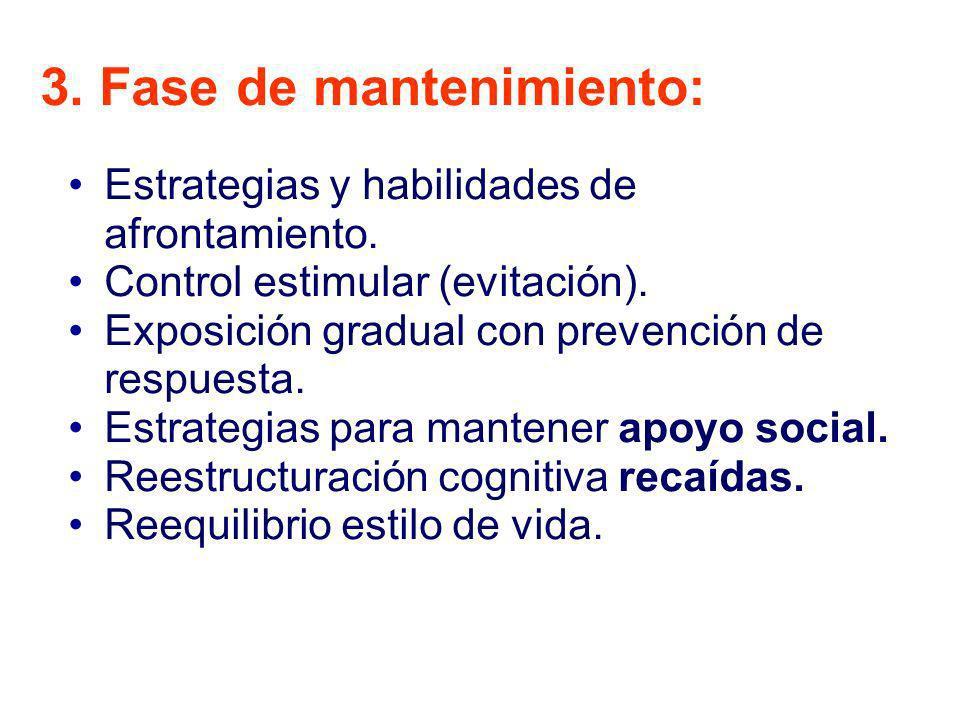 3. Fase de mantenimiento: Estrategias y habilidades de afrontamiento. Control estimular (evitación). Exposición gradual con prevención de respuesta. E