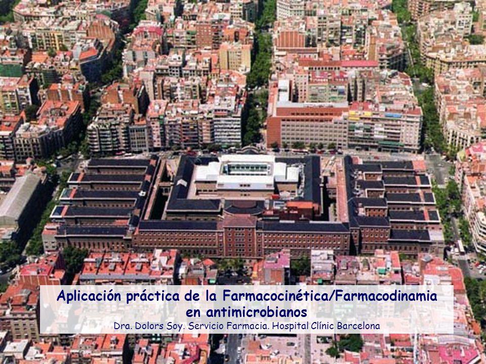 Aplicación práctica de la Farmacocinética/Farmacodinamia en antimicrobianos Dra. Dolors Soy. Servicio Farmacia. Hospital Clínic Barcelona