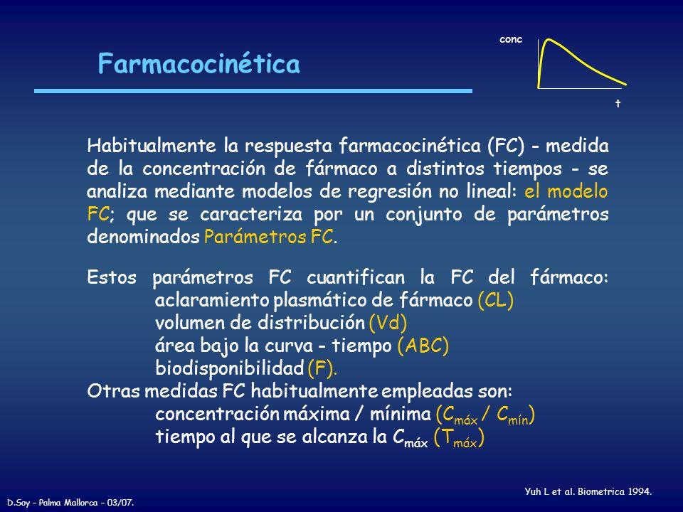 Farmacocinética Yuh L et al. Biometrica 1994. conc t Habitualmente la respuesta farmacocinética (FC) - medida de la concentración de fármaco a distint