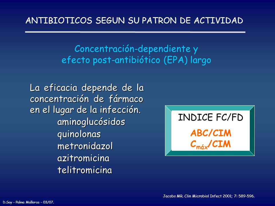 ANTIBIOTICOS SEGUN SU PATRON DE ACTIVIDAD La eficacia depende de la concentración de fármaco en el lugar de la infección. aminoglucósidos aminoglucósi
