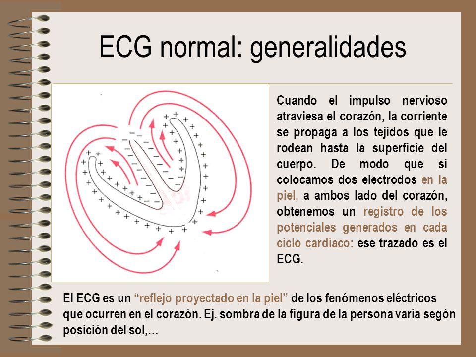 ECG normal: generalidades Cuando el impulso nervioso atraviesa el corazón, la corriente se propaga a los tejidos que le rodean hasta la superficie del