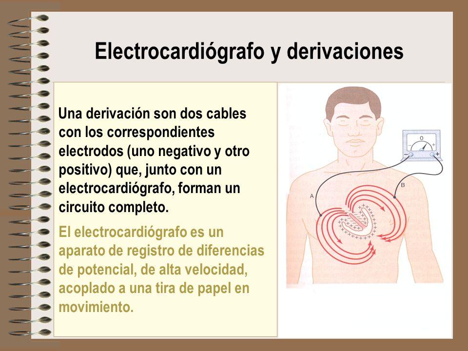 Una derivación son dos cables con los correspondientes electrodos (uno negativo y otro positivo) que, junto con un electrocardiógrafo, forman un circu