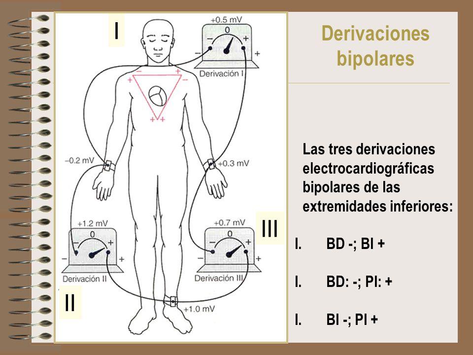Las tres derivaciones electrocardiográficas bipolares de las extremidades inferiores: I.BD -; BI + I.BD: -; PI: + I.BI -; PI + I II III Derivaciones b