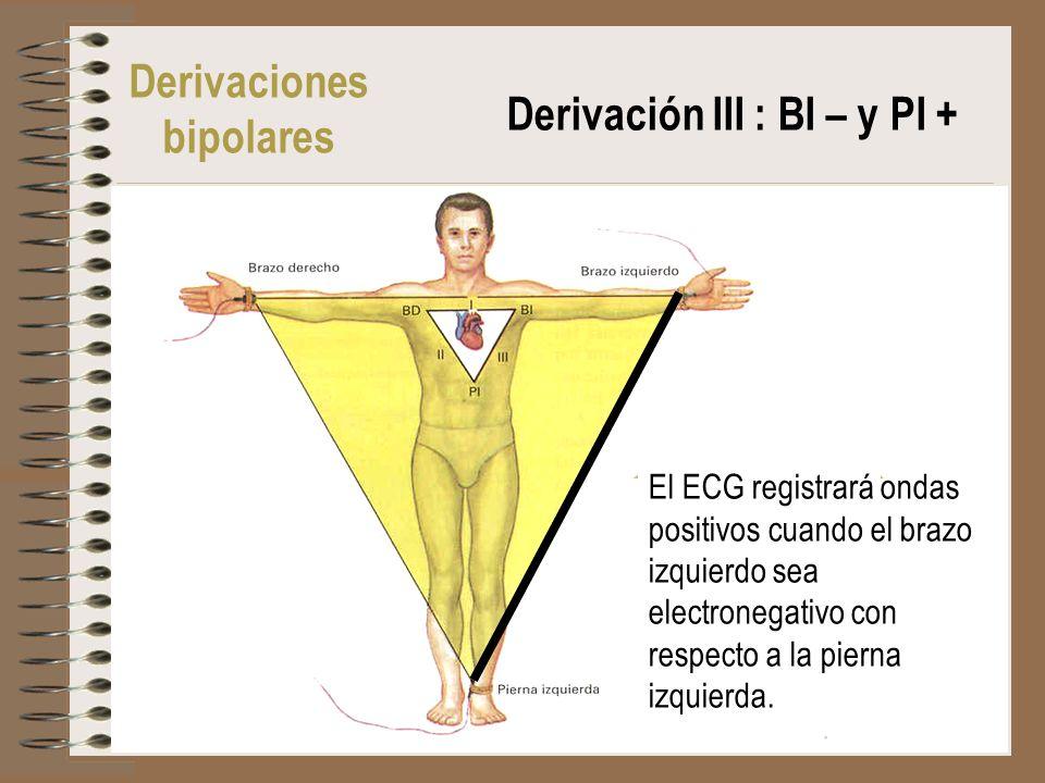 El ECG registrará ondas positivos cuando el brazo izquierdo sea electronegativo con respecto a la pierna izquierda. Derivaciones bipolares Derivación