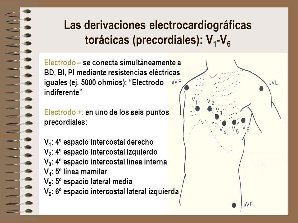 Las derivaciones electrocardiográficas torácicas (precordiales): V 1 -V 6 Electrodo – se conecta simultáneamente a BD, BI, PI mediante resistencias el