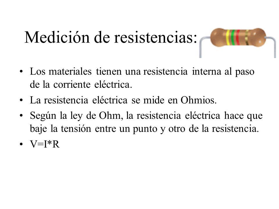 Medición de resistencias: Primero elegiré la escala del medidor que mida resistencias.