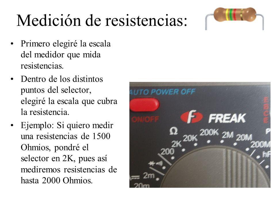 Medición de resistencias: Aquí el selector está puesto en 200.