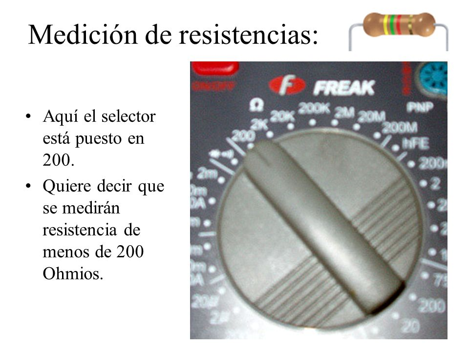 Medición de resistencias: Como segundo paso colocaré las puntas de medir en los terminales COM (común) y V