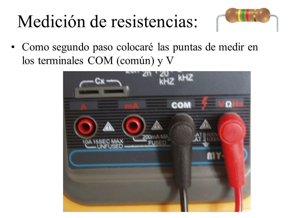 Medición de resistencias: Los extremos de las puntas las colocamos en las bornes de la resistencia y el medidor nos dará el valor real de la resistencia eléctrica.